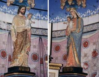 i due Gesù molto uguali in braccio a Giuseppe e Maria nella chiesa di Rennes le Chateau