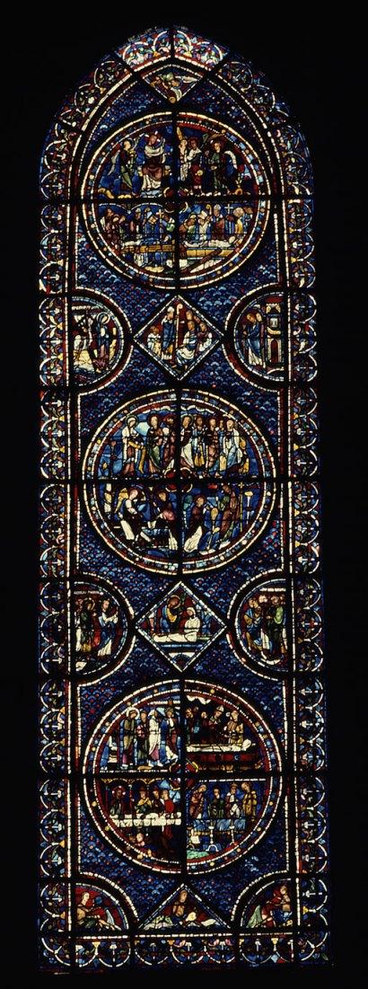 vetrata nella cattedrale di Chartres con le immagini relative a Maria Maddalena